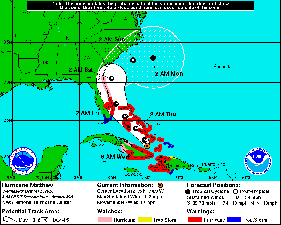 Hurricane Matthew Could Miss Rhode Island National Weather - Us weather service map