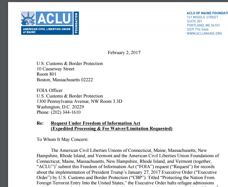The RI ACLU joined other chapters to file this FOIA request for documents related to the Trump administration's implementation of the travel ban