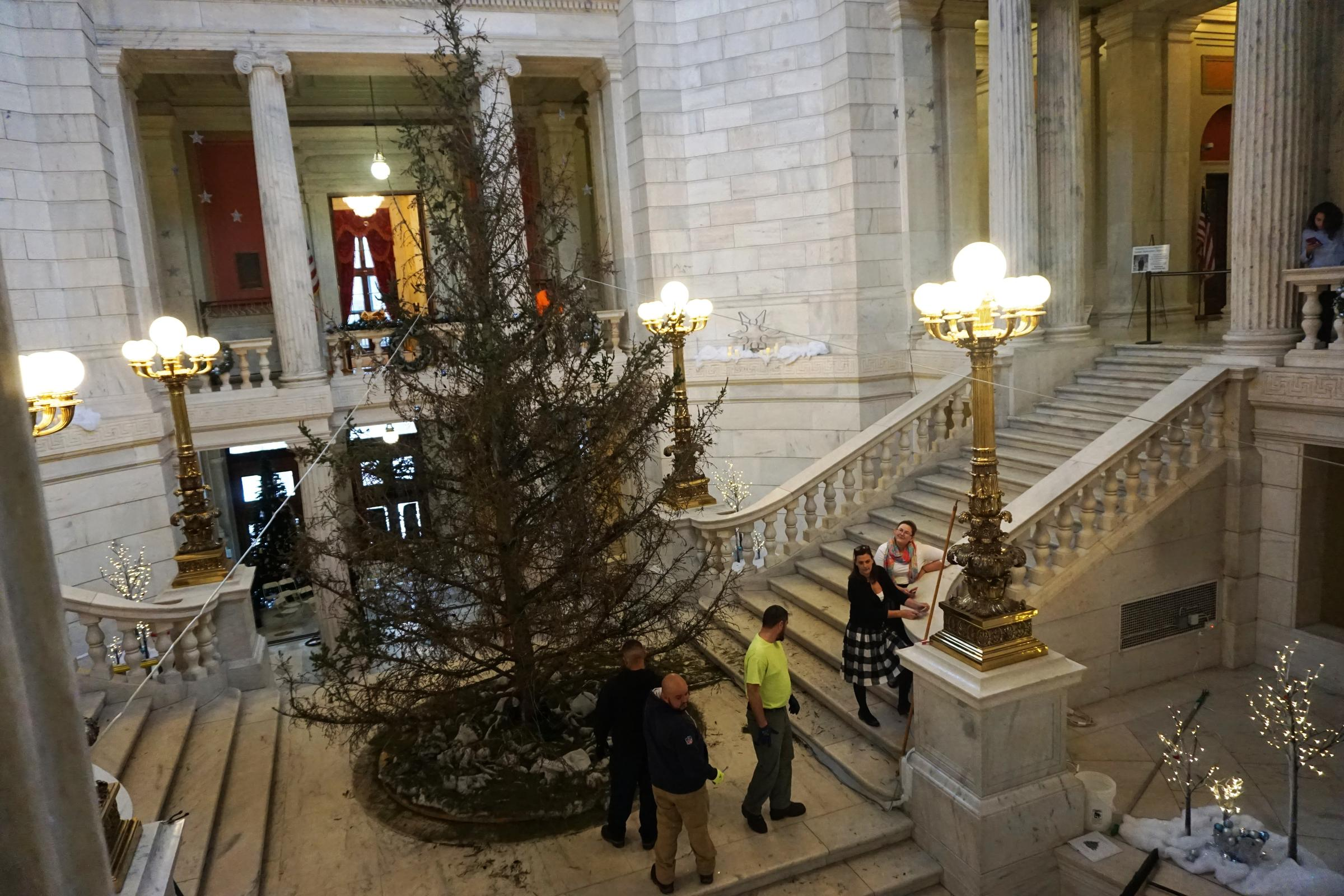 The RI Statehouse Christmas Tree In Minutes Before It Was Taken Down