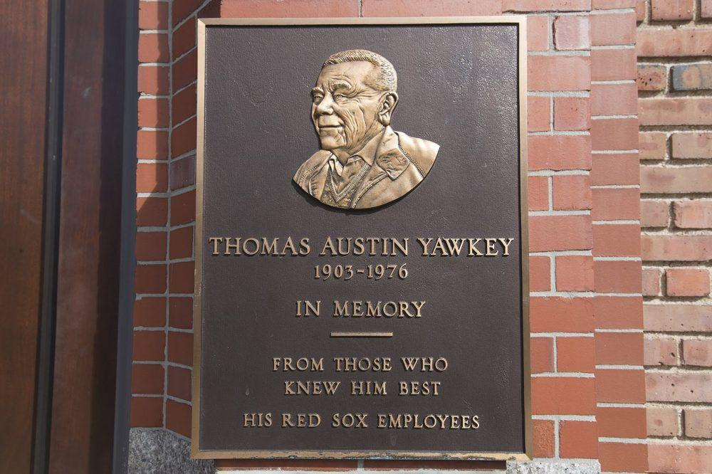 On the Fenway Park wall on Yawkey Way a plaque is mounted honoring Thomas Yawkey