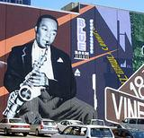 Public mural of Charlie Parker in the Power & Light District, Kansas City, Missouri