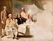 Benjamin West, <em>American Commissioners of the Preliminary Peace Agreement  with Great Britain,</em> 1783-1784, London, England, Oil on canvas. Courtesy, Winterthur, gift of Henry  Francis du Pont.