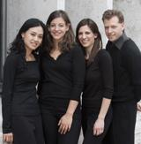 The Biava Quartet, including violinists Austin Hartman and Hyunsu Ko, violist Mary Persin, and cellist Gwendolyn Krosnick will perform works by Brahms at Rittenhouse Square's Church of the Holy Trinity on November 14th at 8 pm.