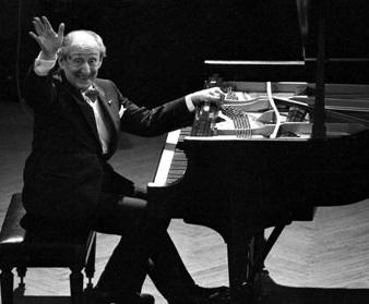 Vladimir Horowitz at his famous piano.