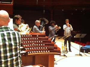 Organist Jeffrey Brillhart rehearses with Canadian Brass.
