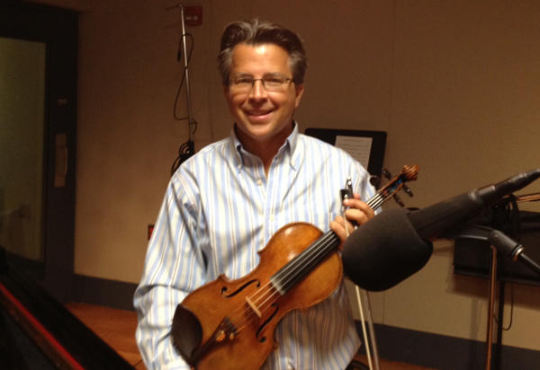 Violinist Michael Ludwig at the WRTI performance studio.