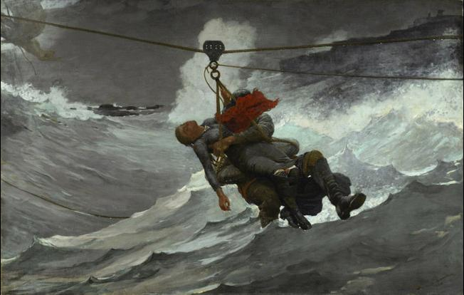 The Life Line, 1884, Winslow Homer, American, Oil on canvas, 28 5/8 x 44 3/4 inches (72.7 x 113.7 cm) The George W. Elkins Collection, 1924, Philadelphia Museum of Art
