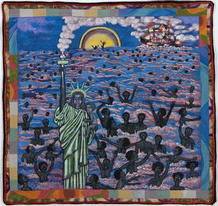 "Faith Ringgold (b. 1930), We Came to America, from the series; ""The American Collection,"" 1997, Painted story quilt, acrylic on canvas with pieced fabric border, Gift of Linda Lee Alter"