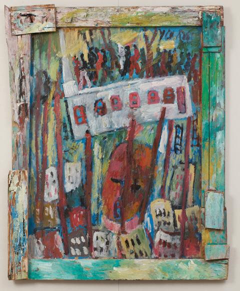 Jail Was Heat. Purvis Young, American, 1943-2010. Paint on weathered Masonite with nailed-on pieces of various types of weathered scrap wood, 43 x 34 inches. Philadelphia Museum of Art, The Jill and Sheldon Bonovitz Collection