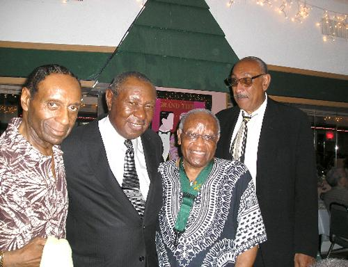 "Left to right: Drummer Charlie Rice, Freddie Cole (Nat King Cole's brother), Tony Williams, and William ""Buddy"" Savin at LaRose Jazz Club circa 2005."