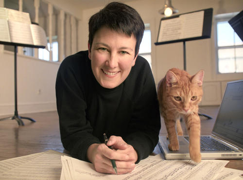 Composer Jennifer Higdon with Beau.