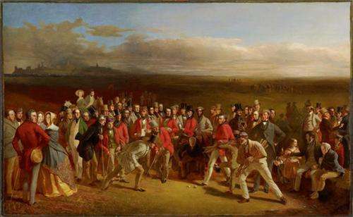 The Golfers, 1847, by Charles Lees. Oil on canvas, 51 1/2 x 84 1/4 inches (130.8 x 214 cm). Scottish National Portrait Gallery