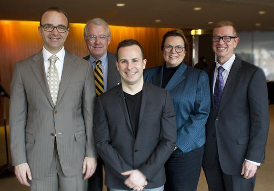 (left to right) David Devan, general director/president of Opera Philadelphia; Richard Worley, Phila. Orch. chairman; Yannick Nézet-Séguin, Phila. Orch. music director; Allison Vulgamore, Phila. Orch. CEO & president;  Opera Phila. Chairman Daniel Meyer