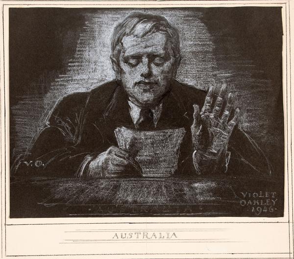 Violet Oakley, 1874-1961, Dr. Herbert Vere Evatt (1894-1965), Delegate from Australia, from the United Nations Series, 1946, White conté on black paper