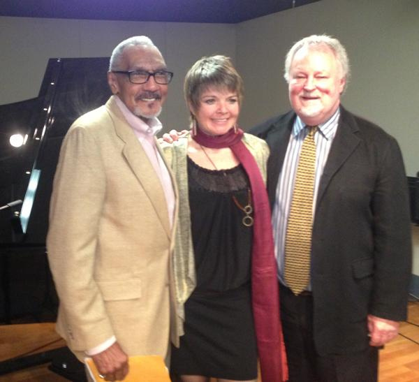 WRTI jazz host Bob Perkins with Karrin Allyson and Bill McGlaughlin in the WRTI performance studio, April 14, 2013.