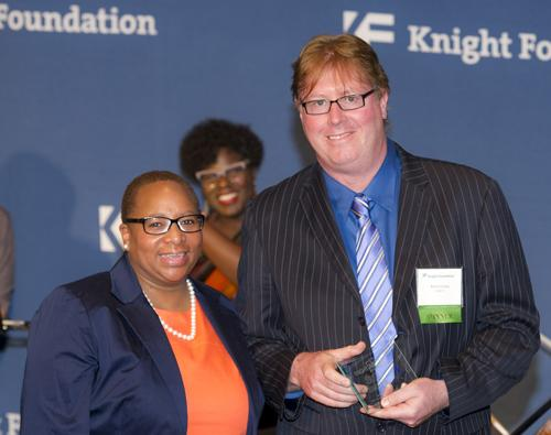 Jim Cotter accepts Knight Foundation Arts Challenge Grant award on behalf of WRTI. Pictured here with Knight Arts Philadelphia Program Director Donna Frisby-Greenwood at Philadelphia Museum of Art, April 29, 2013.