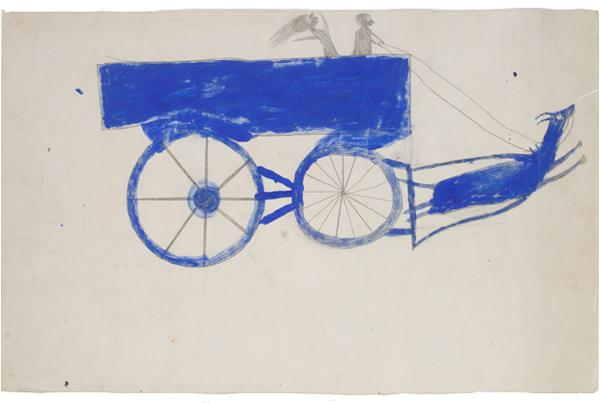 Runaway Goat Cart, c. 1939–42. Bill Traylor, American, c. 1853–1949. Opaque watercolor and graphite on cream card, (Philadelphia Museum of Art, The Jill and Sheldon Bonovitz Collection)