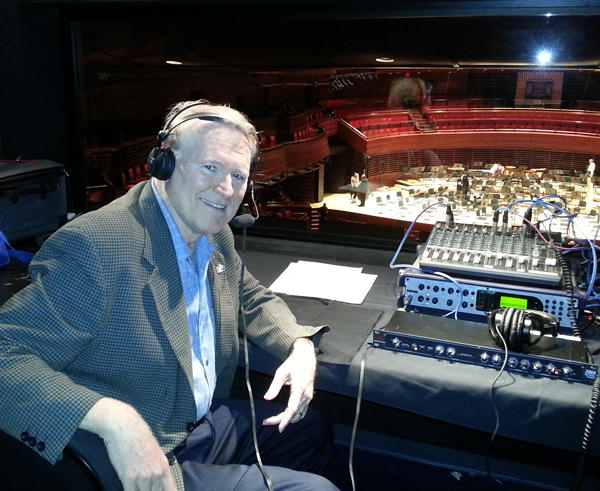 Producer and Host Gregg Whiteside in the broadcast booth at Verizon Hall