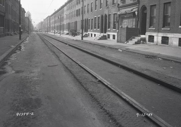 Looking south down 12th St. from Jefferson, 1951. John Coltrane's apartment at 1450 N. 12th St. was on the right of the street, probably in the foreground