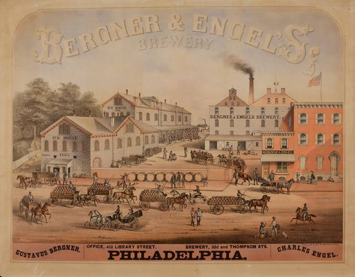 An advertisement for Bergner and Engel's Brewery, circa 1875