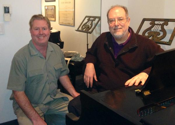 WRTI's Jim Cotter backstage at the Kimmel Center with Garrick Ohlsson last April.