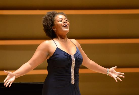Mezzo-soprano Kristina Nicole Lewis in the 2012 Giargiari Bel Canto Competition at the Perelman Theater.