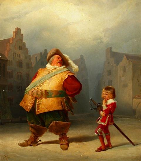 Falstaff and His Page,  Adolf Schrödter (1805–1875)