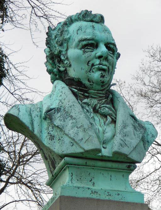 Bust of Franz Schubert by Henry Baerer, 1891 in West Fairmount Park, east of Horticultural Hall. Bronze sculpture with limestone base and granite with bronze plaque.