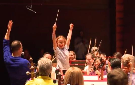 Guest Conductor Madeline Church, 9, was the winner of the conducting competition before the pop-up concert in Verizon Hall.