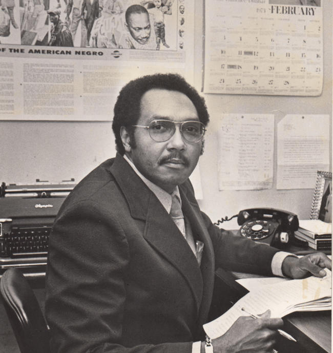 Getting ready to write his daily editorial column at WDAS in the mid '70s