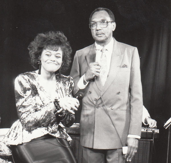 On the set of his jazz cable TV show at the old Greater Media Cable in South Philly in the early '90s with guest vocalist Paula Johns.