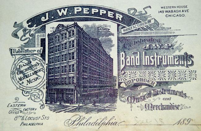 Circa 1890, the J.W. Pepper building in Philadelphia