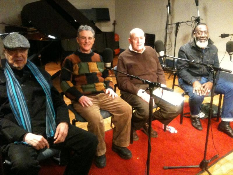 (left to right) - At WRTI, pianist Dave Burrell, saxophonist Bobby Zankel, writer Francis Davis and bassist Jamaaladeen Tacuma