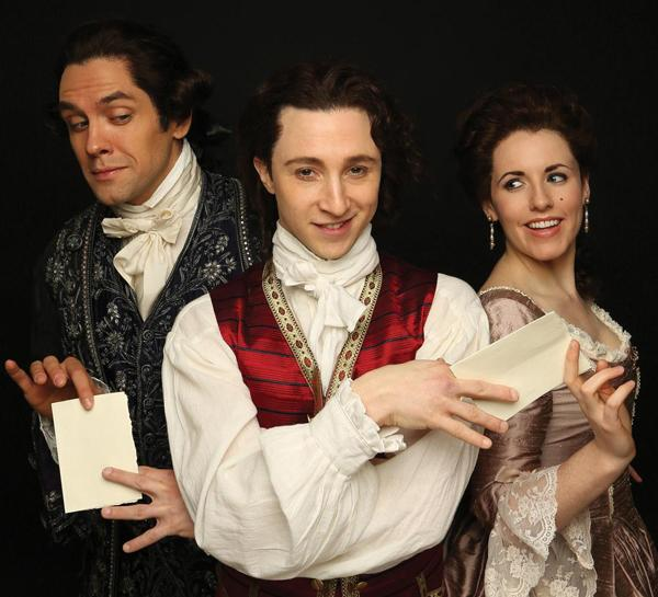 Neal Bledsoe as Count Almaviva, Adam Green as Figaro, and Naomi O'Connell as Rosine in Stephen Wadsworth's Beaumarchais adaptations, THE FIGARO PLAYS, at Princeton's McCarter Theatre through April, 2014.
