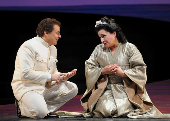 Soprano Patricia Racette sings Cio Cio San and tenor Stefano Secco sings Pinkerton in Puccini's MADAMA BUTTERFLY.