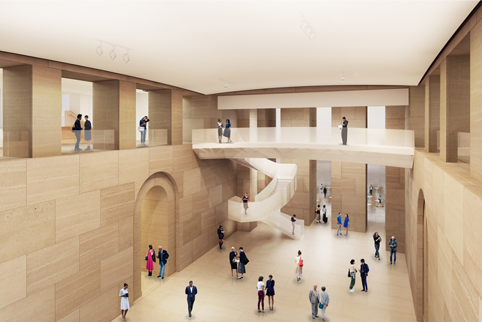 In architect Frank Gehry's master plan, the heart of the Museum will be opened up, creating a clear sight line through the ground-floor and first-floor galleries that will greatly simplify wayfinding.