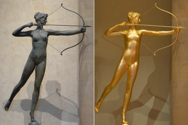 Diana's recent re-gilding restored her golden glow in a tone appropriate for viewing the sculpture up close.