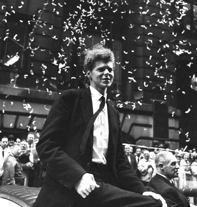 Van Cliburn in a ticker-tape parade in 1958 after winning the Moscow International Tchaikovsky Competition. He's the only musician to ever receive a ticker-tape parade tribute in New York City.