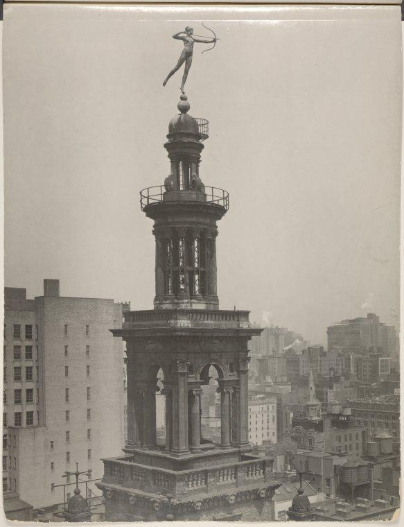 Augustus Saint-Gaudens (1848-1907) sculpted Diana, who sat on top of Madison Square Garden in NYC before being relocated to the Philadelphia Museum of Art. This photograph is from 1925.