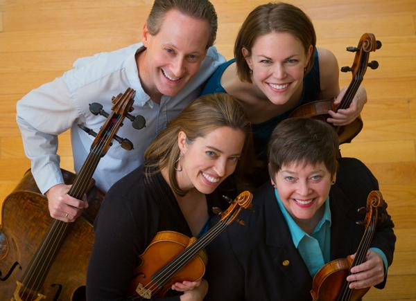 Serafin String Quartet includes Esme Allen-Creighton, Lawrence Stomberg, Lisa Vaupel, and Kate Ransom.