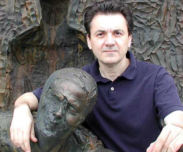 "Sculptor Zenos Frudakis with ""Freedom"""
