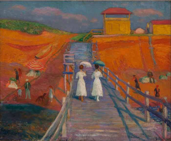 William Glackens. Cape Cod Pier, 1908. Oil on canvas, 26 x 32 in. (66 x 81.3 cm). Museum of Art, Fort Lauderdale, Nova Southeastern University; Gift of an Anonymous Donor