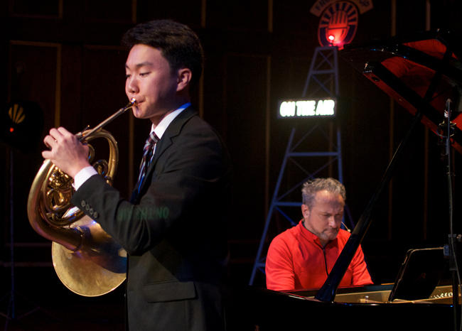 French horn player Ray Seong Jin Han, a freshman at Curtis, is accompanied by pianist Christopher O'Riley, host of FROM THE TOP.