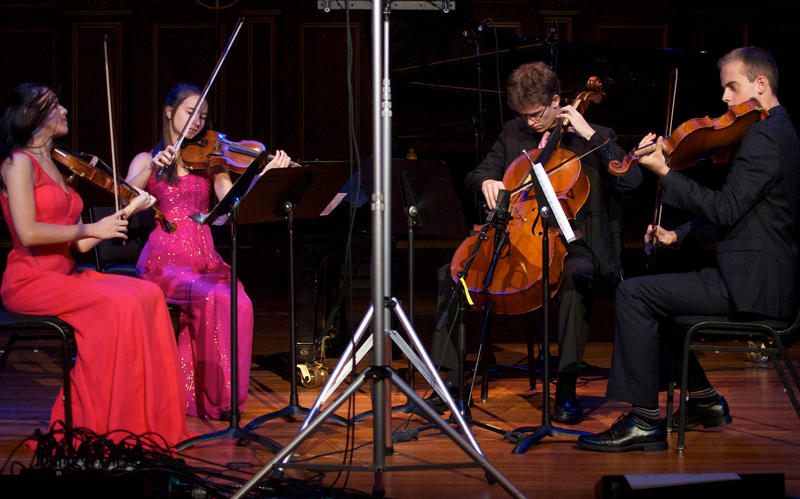 Violinists Beatrice Hsieh and Carolyn Semes, cellist Zachary Mowitz, and violist Joseph Burke on FROM THE TOP.