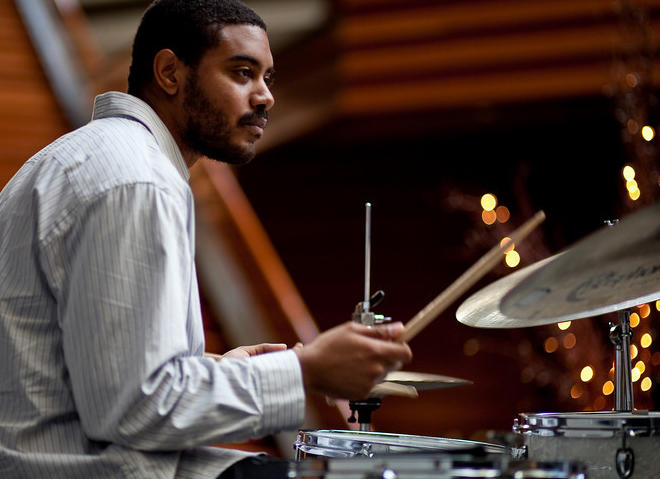 Philadelphia Jazz Project is promoting the Mysterious Travelers Concert Series at the Free Library. It features free monthly concerts running through April 2015. Above is drummer Wayne Smith, Jr, performing on December 8th at 7 pm.