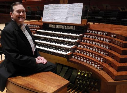 Michael Stairs at the  Fred J. Cooper Memorial Organ, Verizon Hall. Photo credit: Doug Blackman