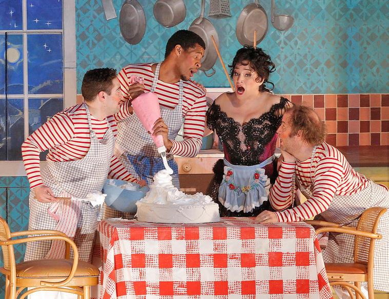 """Soprano Patricia Racette as Nedda with Marty Keiser, Joshua Wynter, and Andy Sapora in Leoncavallo's """"Pagliacci."""""""