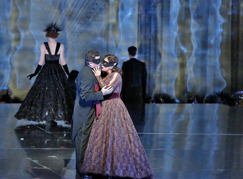 "Piotr Beczala as Gustavo III and Sondra Radvanovsky as Amelia in Verdi's ""Un Ballo in Maschera."""