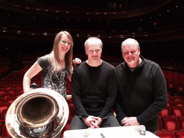 Philadelphia Orchestra Principal Tuba Carol Jantsch, conductor Giandrea Noseda, and composer Michael Daugherty at a March, 2015 rehearsal with The Philadelphia Orchestra.