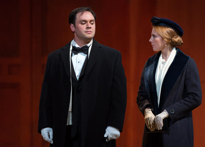 """Paul Appleby as Tom Rakewell and Layla Claire as Anne Trulove in The Met Opera's """"The Rake's Progress."""""""